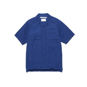 GARMENT DYED OPEN COLLAR HALF SLEEVE SHIRT - BLUE