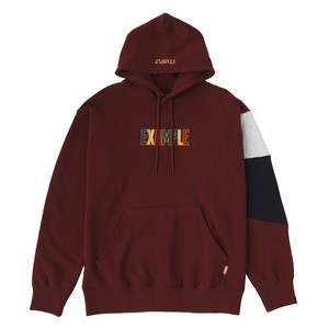 EXAMPLE EMBROIDERY MULTI TICOLOR LOGO HOODIE / BURGUNDY