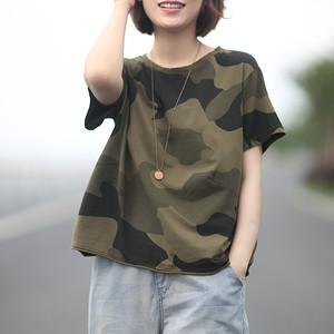【tops】カモフラ個性デザインカッコイイ2色スタイリッシュTシャツ