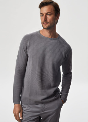 COTTON SWEATER WITH STRIPED TEXTURE