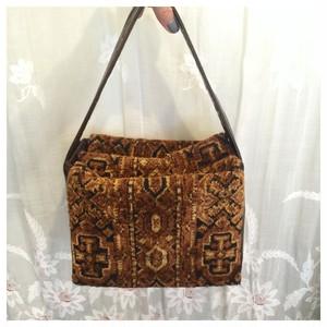 ヴィンテージ ハンドバッグ ゴブラン織り ボックス型