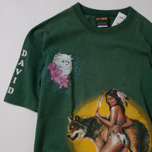【Lサイズ寸】 IVY CREW Wolf TEE アイビークルー ウルフ 半袖Tシャツ GREEN ONESIZE 400601190809
