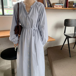 Single-Breasted Long Sleeve Dress T688