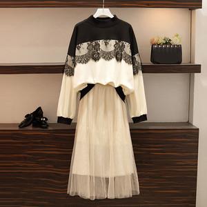 【セット】ファッション秋冬切り替えパーカー+メッシュAラインスカート2点セット25080032
