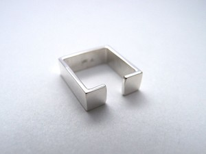 Silver925 スクエアメタル ユニセックスタイプイヤーカフ(シングル)