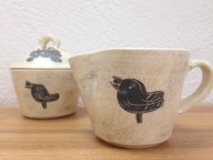 きしま陶房 ぶどうと小鳥 ミルクピッチャー