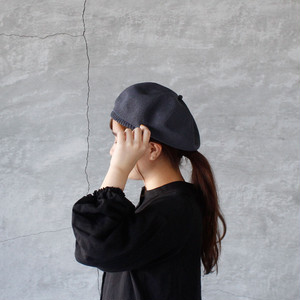 mature ha. (マチュアーハ )beret top gather big silk grey 送料無料