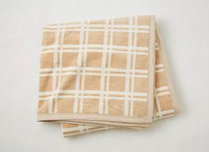 ブラウンチェック綿毛布420504