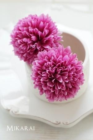 浴衣や和装に!大きめでフワフワなマム(菊)髪飾り2本セット【赤紫】 [HP02]