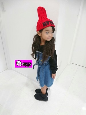 【予約販売】韓国子供服 キッズ デニム×パーカー ワンピース ブラック 切りっぱなしデザイン