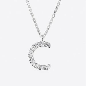 Initial K18WG Diamond【C】Pendant Necklace (ダイヤモンド イニシャル【C】ペンダントネックレス)
