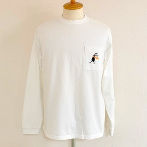 Shabby Embroidery Pocket Long Sleeve T-shirts White