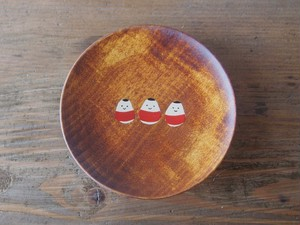 かわいい起き上がり小法師の縁起豆皿|会津漆器| ほくるし堂