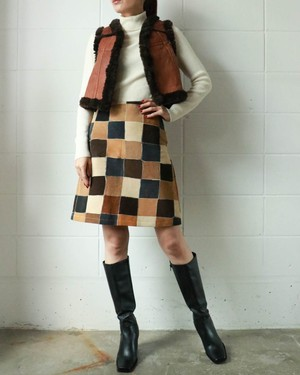 suede block check skirt