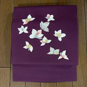 帯 九寸名古屋(塩瀬) 紫紺に花(中古)