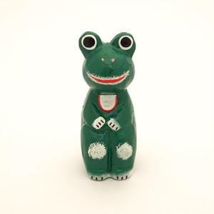 おすましカエル 木彫り 緑 バリ木彫り バリ雑貨