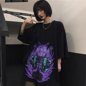 【トップス】ストリート系落書きラウンドネック半袖Tシャツ26848458