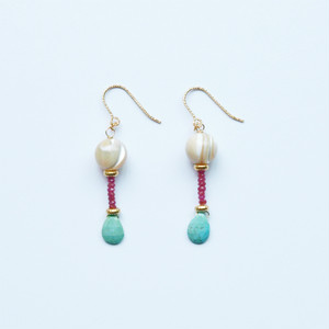ODORI Earrings|Ruby, Turquoise,14KGF