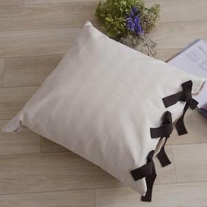 【カバー+ヌードクッション】 canvas stripes クッションセット ribbon SQ