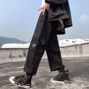 【ボトムス】ストリート系レギュラー丈無地レギュラーウエストカジュアルパンツ26643689