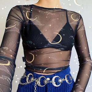 レディーストップス セクシー ステージ衣装 ダンスウェア 長袖Tシャツ ショート シースルー 透視 9003