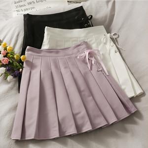 3色/サイドリボンプリーツスカート ・13575