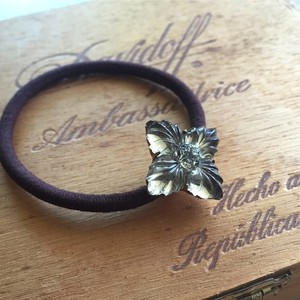 【pebble Ammi】Vintage flower glass stone   ヘアゴム