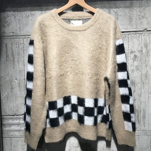 【SEVESKIG】MOHAIR BRUSHED CHECKER SWEATER