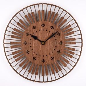 木の壁掛け時計E 鍵盤(木製ウォールクロック)