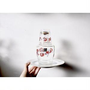 【冠水瓶-ばら模様-】グラス ピッチャー アデリア 1970年代 昭和レトロ ヴィンテージ