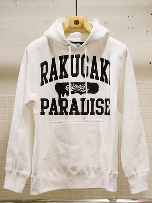 RAKUGAKI PARADISE UNIVERSITY Main Logo Pull Over Parka White