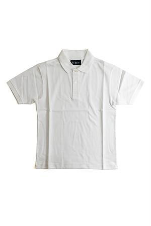 《Made in France》オリジナル 半袖 鹿の子ポロシャツ 2つ釦 〈ホワイト〉