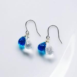 K14WG 青藍色のアパタイトとホワイトトパーズのピアス