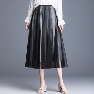 【ボトムス】ファッションメッシュグラデーション色Aラインスカート20391223