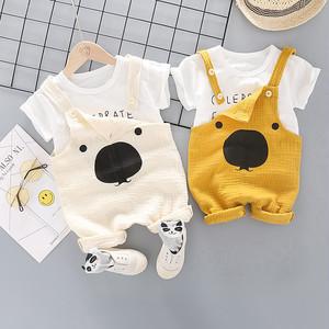 【子供服】韓国風綿麻生地プリントTシャツ/可愛いストラップ2点セット20520631