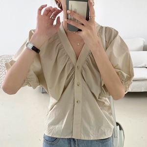 【トップス】Vネックシングルブレストパフスリーブシンプル合わせやすいシャツ27966217