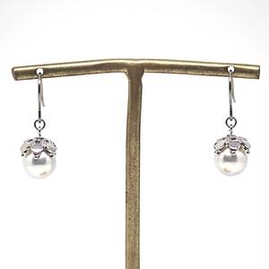 あこや本真珠の木の実のピアスAE