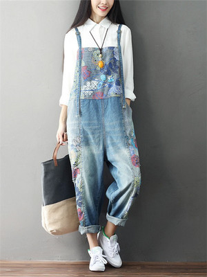 【bottoms】Summer casual print loose overall denim pants