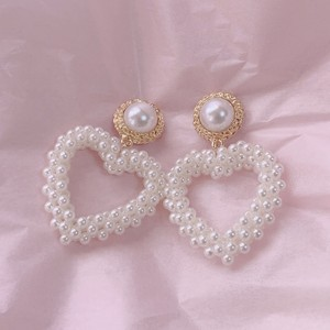 予約 girly pearl heart pierce
