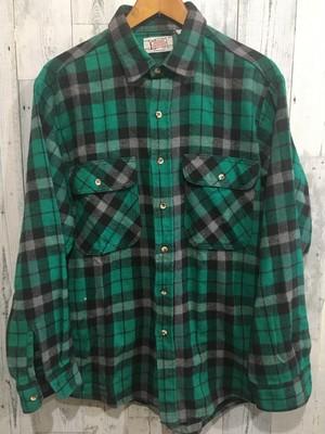 アメリカ製ビンテージ プライベートプロパティ チェック ヘビーネルシャツ グリーン系