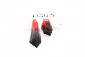 イヤリング 赤×黒