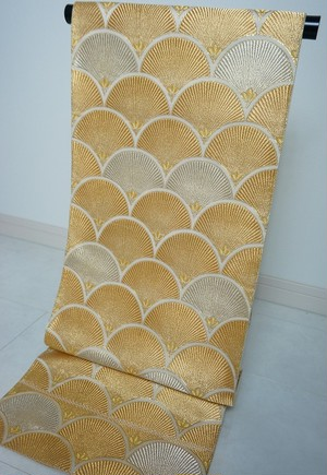 袋帯 金銀糸正絹 青海波 孔雀 リユース 065