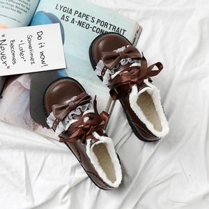 靴 ロリータ フリルローファー リボン ガーリー フェミニン 厚底 韓国