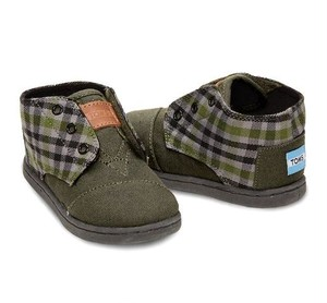 TOMS | Green Flannel Tiny Toms Paseo Mids