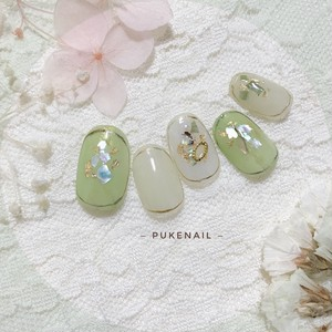 [Pukeネイル[No.296]夏の雰囲気シェル・ニュアンス・グリーンシアー色ジェイルネイルチップ