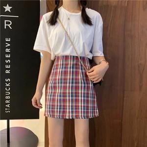 カラーチェックレトロタイトスカート