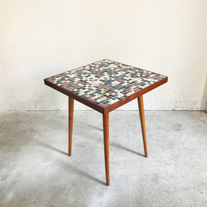 Mosaic Tile Top × Teakwood Side Table 1960's オランダ