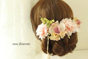 コチョウランとピオニーの髪飾り(ピンク)
