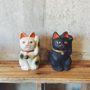 まねき猫 古い京陶人形