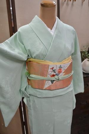 【単衣】ミントグリーンの単着物☆色無地【トールサイズ】